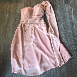 Pink Asymmetrical One Shoulder Dress